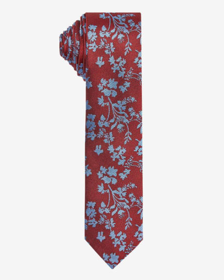 Skinny tie with contrast floral pattern