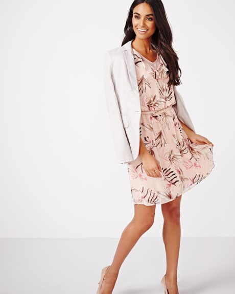 Printed Fit and Flare Dress with Ruffles