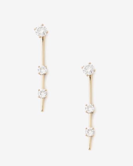 Triple crystal stick earrings