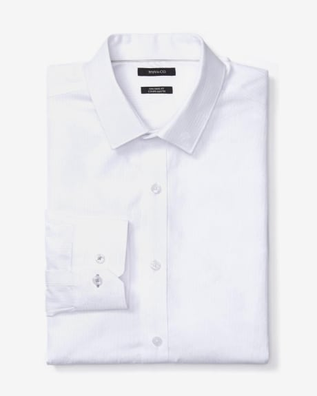 Tailored Fit White Jacquard Dress Shirt