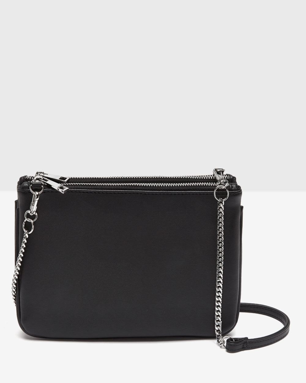 Black Faux Leather Crossbody Bag 58