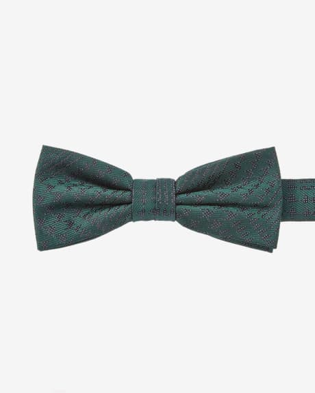 Green houndstooth skinny bow tie