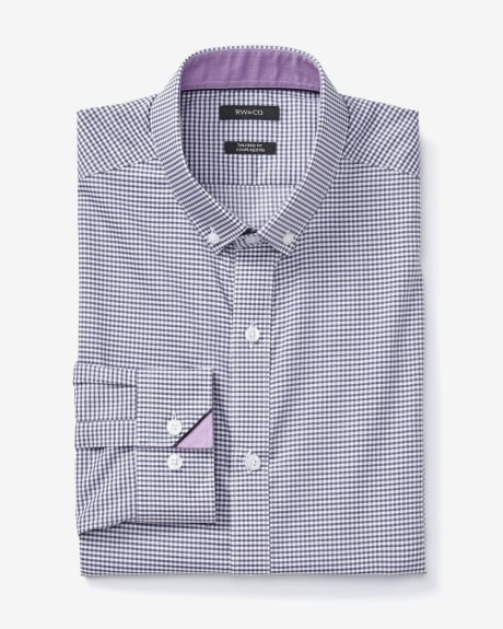 Tailored fit textured gingham dress shirt