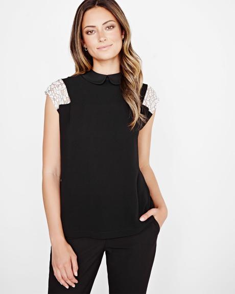 Lace sleeve t-shirt with collar