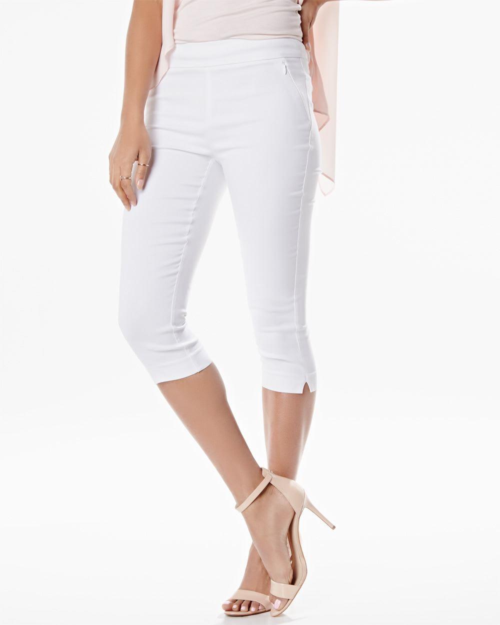 White Stretch Capri Leggings