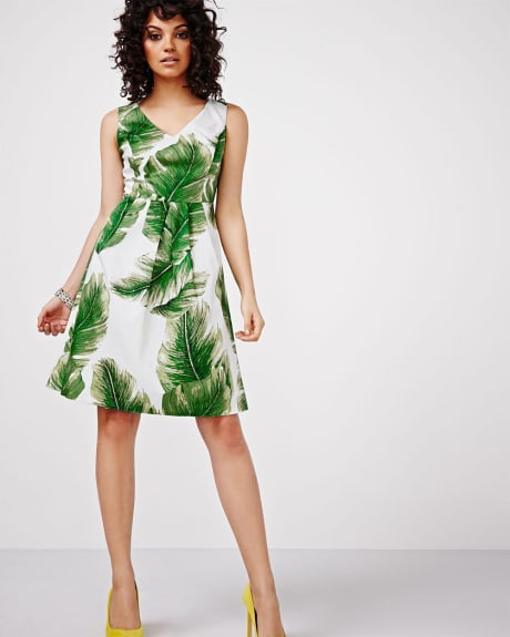 Leaf Print Fit and Flare Dress by Sangria