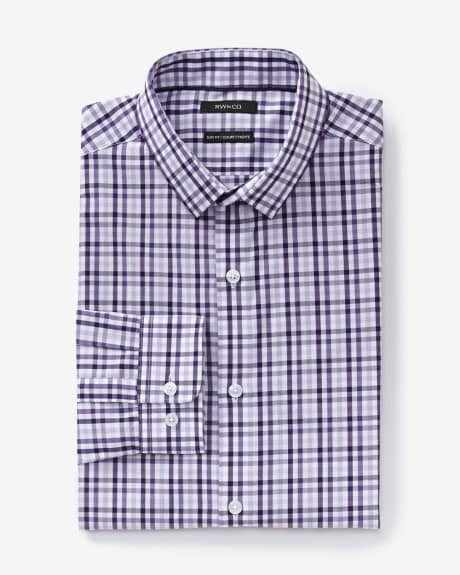 Slim fit dress shirt with three-tone check