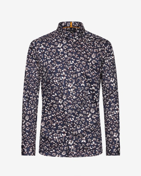 Slim fit flower print shirt