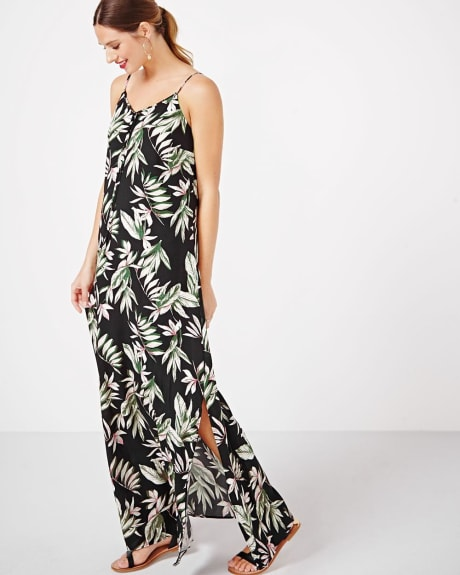 Printed Challis Maxi Dress