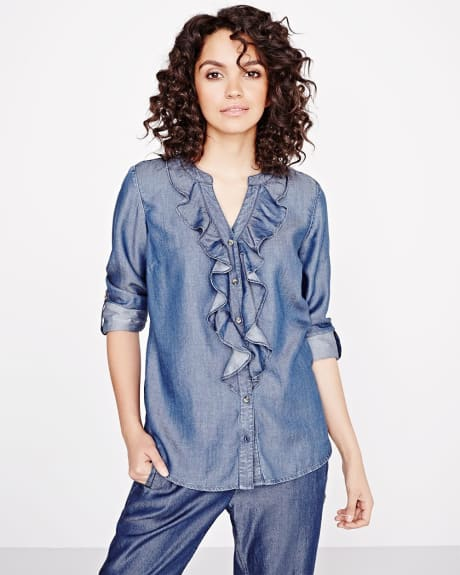 Denim Blouse with ruffles