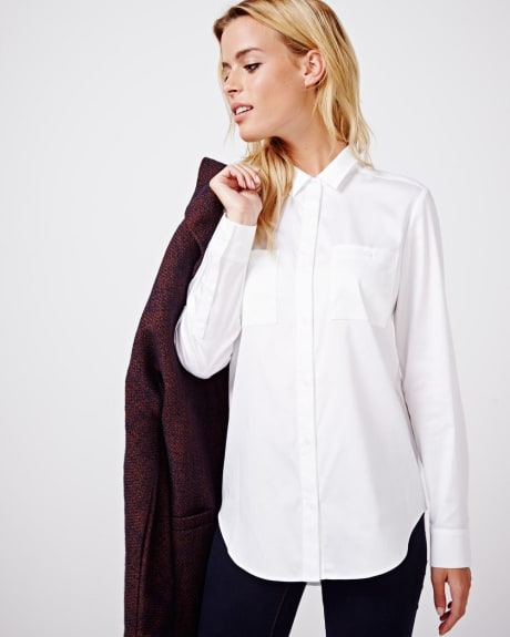 Cotton sateen blouse with back pleat