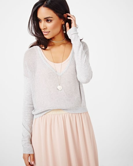 Deep V Open Stitch Sweater