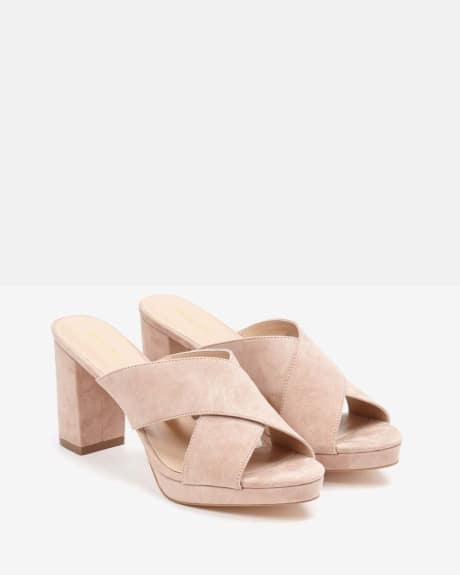 Criss Cross Suede Mules
