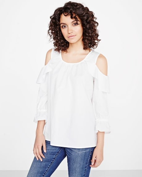 Cold-shoulder blouse with frills