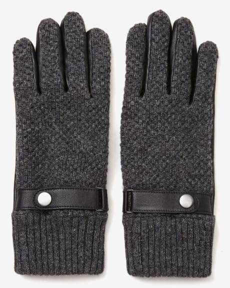 Knit and leather men's gloves
