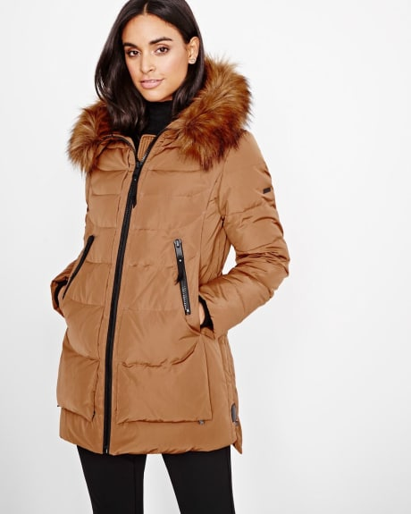 Quilted Down Coat with Faux Fur-trimmed Hood by Novelti