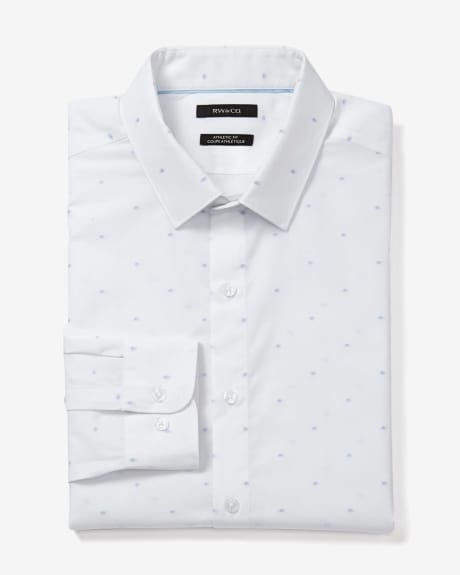 Athletic Fit White and Blue Dot Dress Shirt