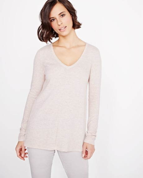 Cashmere-like double V-neck sweater