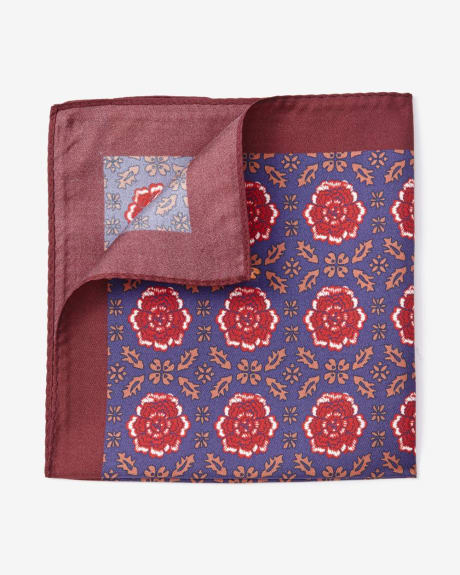 Red flower pocket square