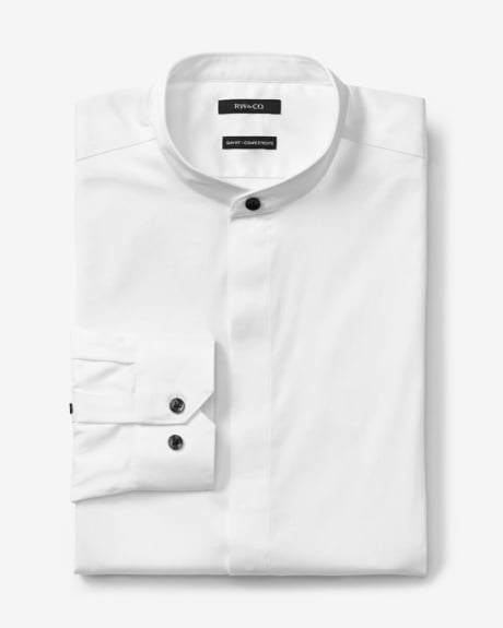 Slim Fit Mandarin Collar Dress Shirt