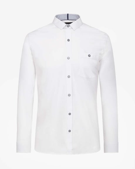 Slim fit poplin shirt with elbow patch