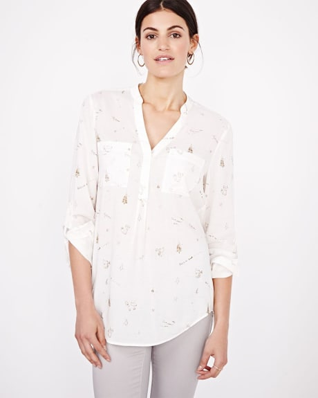 Printed challis blouse with rolled-up sleeve