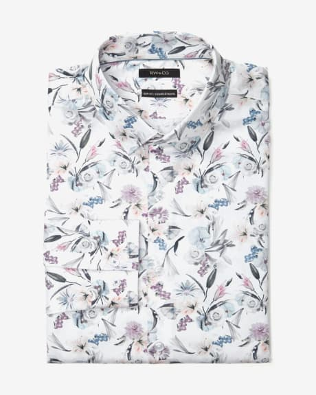 Slim Fit Pastel Flower Dress Shirt