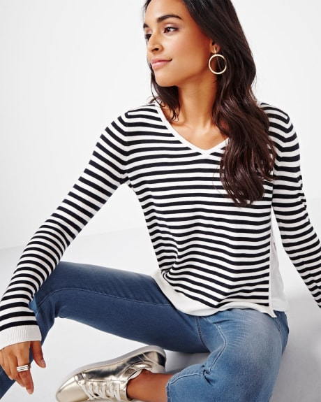 Striped Sweater with Slit