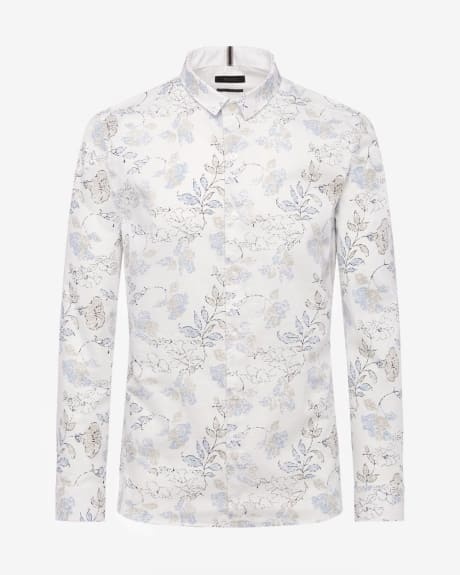 Flower Print Slim Fit Long Sleeve Shirt