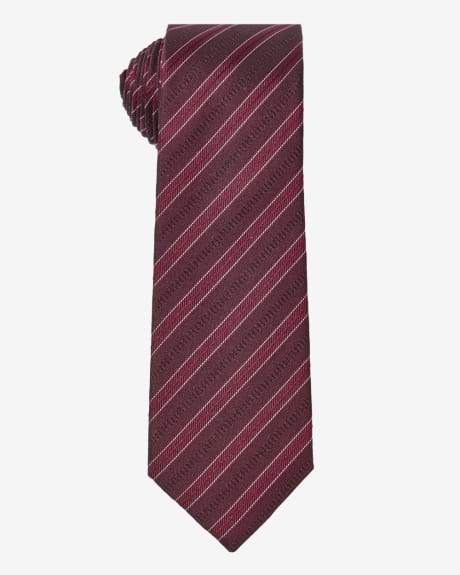 Regular tie with red multi texture stripes