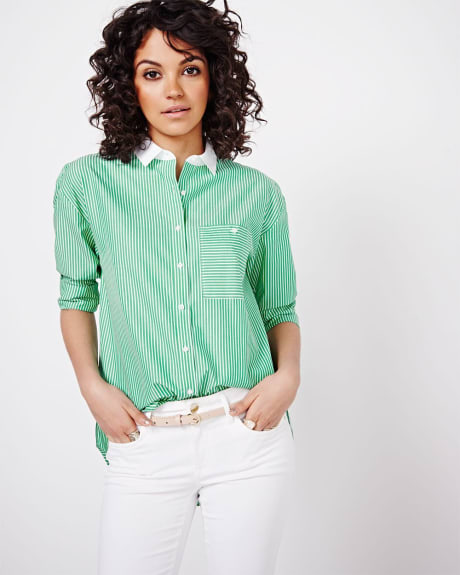 Green Stripe Shirt Blouse with Contrast Collar