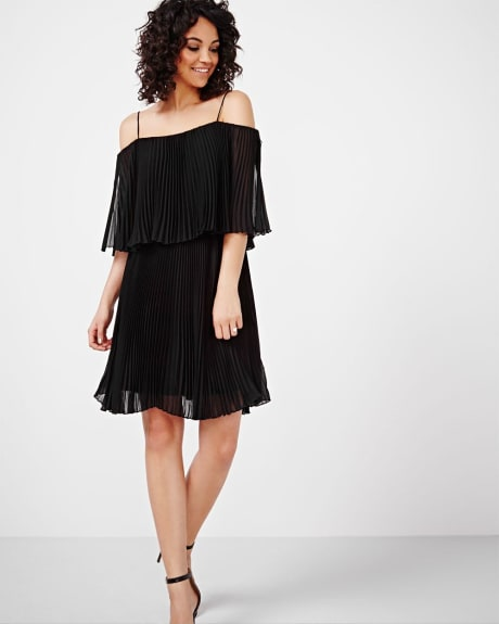 ABS by Allen Schwartz Cold-Shoulder Pleated Dress