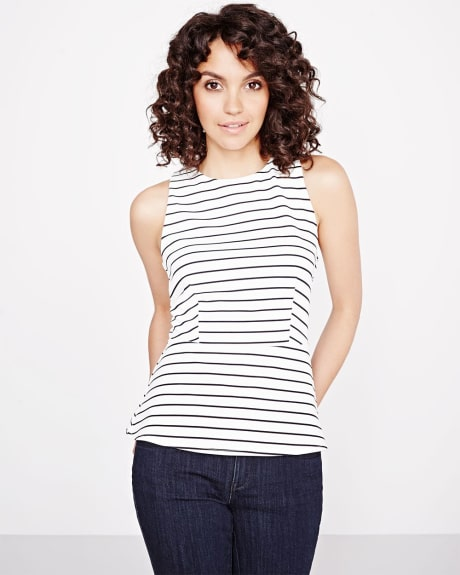Striped crepe sleeveless peplum t-shirt