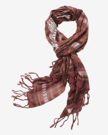 Moroccan stripe scarf with fringe