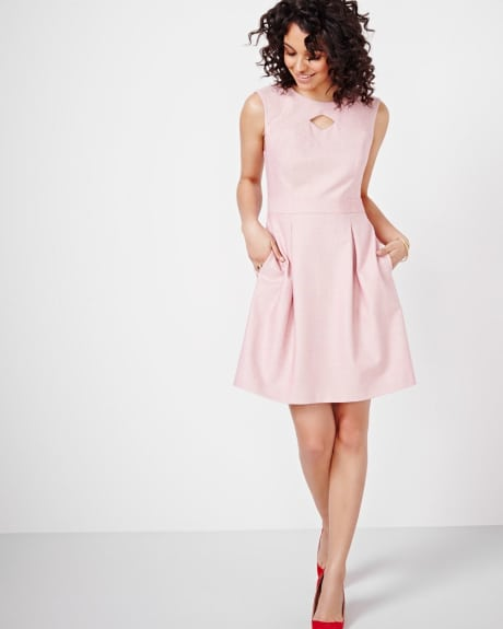 Fit and Flare Dress with Peek-a-Boo Neckline