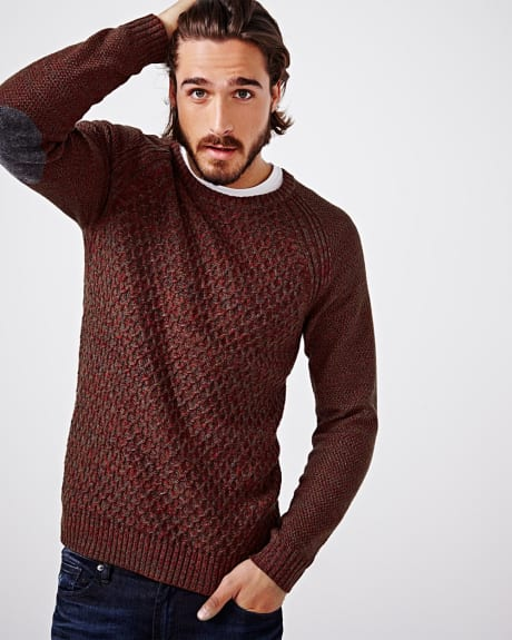 Textured elbow patch sweater