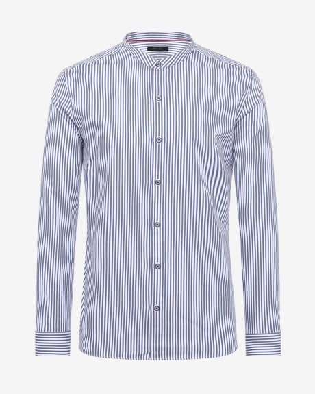 Tailored Fit Striped Shirt with Mandarin Collar