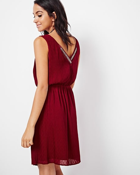 Crinkled chiffon fit and flare dress