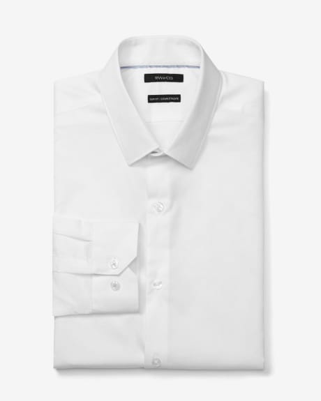 Slim fit white dress shirt with tonal polka dots
