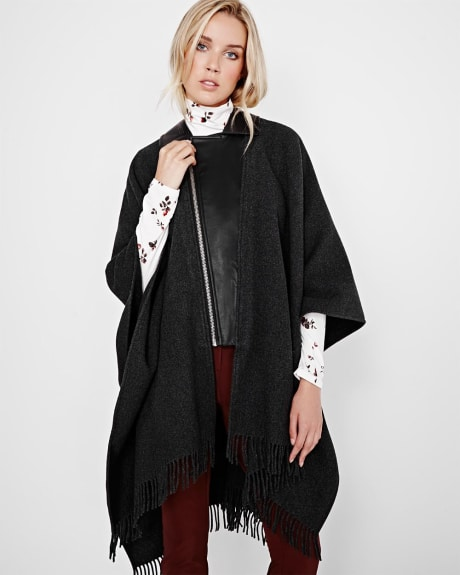 Wool-blend and vegan leather cape