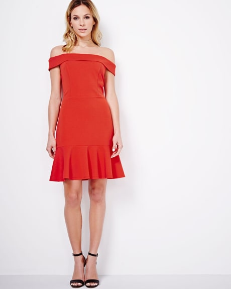 ABS by Allen Schwartz Off-Shoulder Dress with Peplum Hem