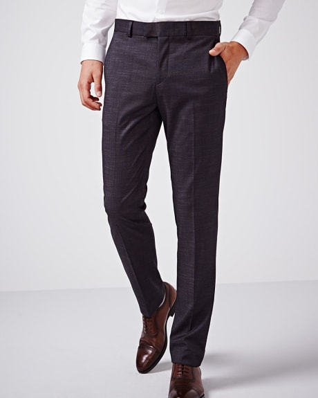 Slim fit black slub pant - Regular