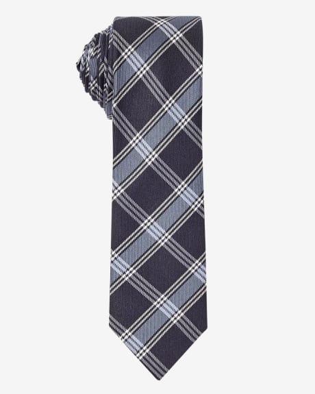 Skinny blue formal check tie.Bijou blue.1SIZE