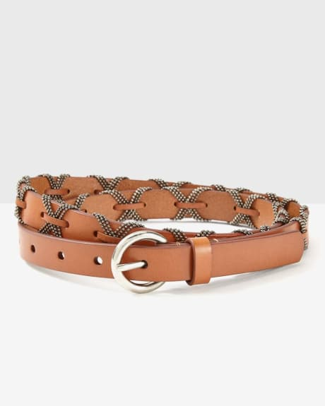 Skinny leather belt with chain