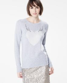 Heart sweater with jeweled antlers