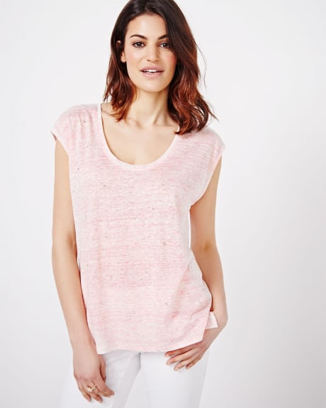 Linen T-Shirt with Rhinestones