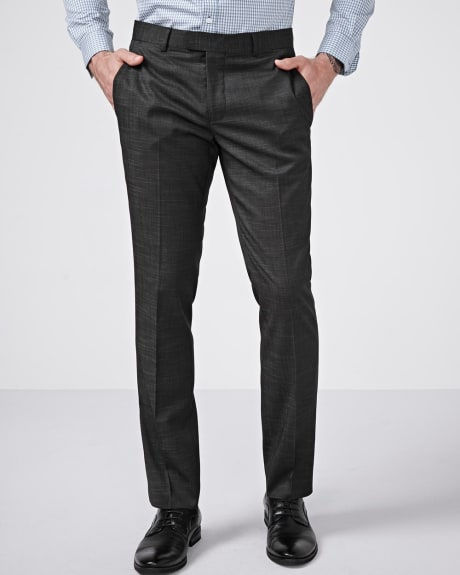 Slim Fit Black Slub Pant - Short