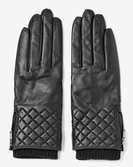 Women's Quilted leather gloves