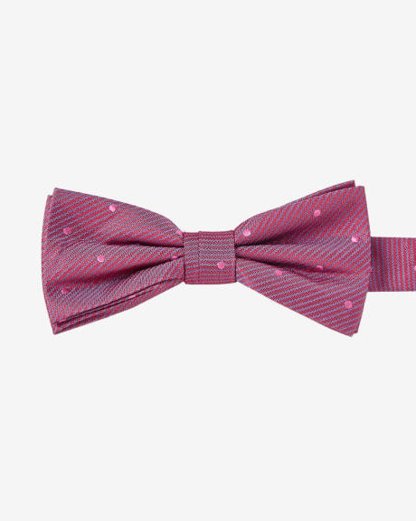 WOVEN CLASSIC BOW TIE IN PINK WITH PINK POLKA DOTS