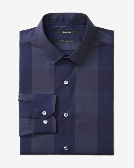 Slim fit dress shirt in large tonal check